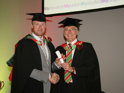 Andrew Flintoff receives his fellowship from Myerscough College