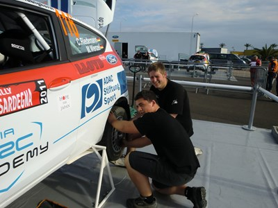 Myerscough College Students work on WRC Rally Car