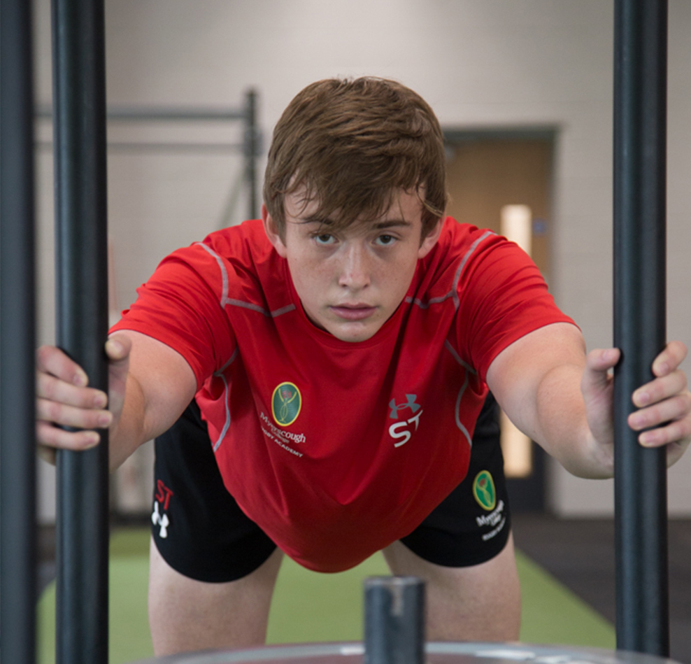 Myerscough College Sports Studies student weight training in the High Performance Centre