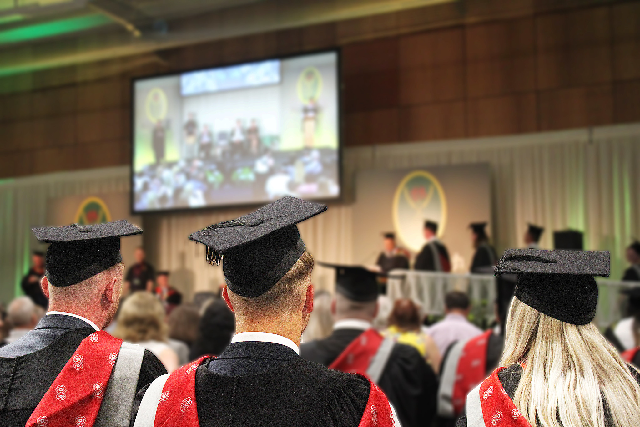 University Centre Myerscough students wearing their graduation cap and gowns at the Preston Campus