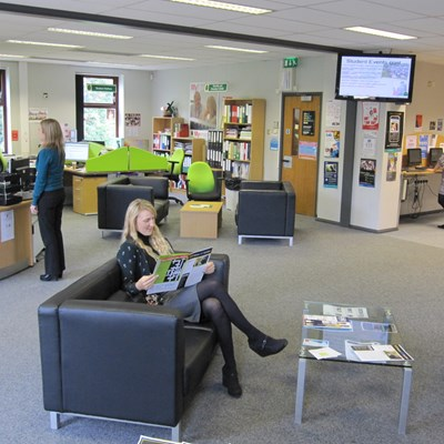 Students in The Core at Myerscough College's Preston Campus