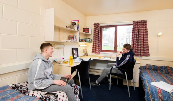 Two Myerscough College students in halls of residence student accommodation at the Preston Campus